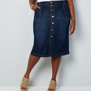 Avenue Premium Stretch Perfect Fit Denim Skirt NWT